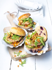 Chicken Sliders on Wild Blueberry Brioche Buns Picture