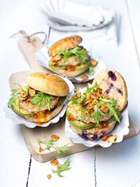 Chicken Sliders on Wild Blueberry Brioche Buns Picture