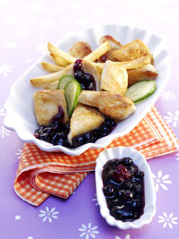 Chicken Nuggets with Wild Blueberry Catsup Sauce and French Fries Picture