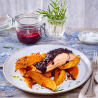 Salmon Filet with Wild Blueberry BBQ Sauce and Sweet Potatoes Picture