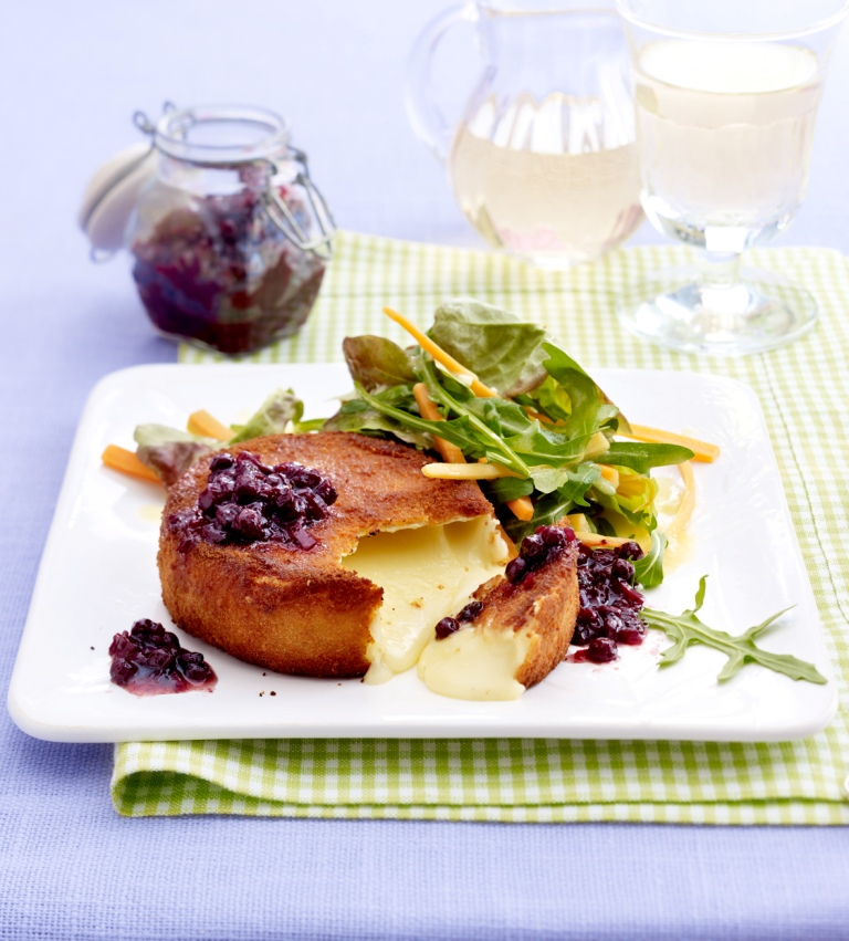 Baked Camembert with Wild Blueberry Chutney and Salad Picture