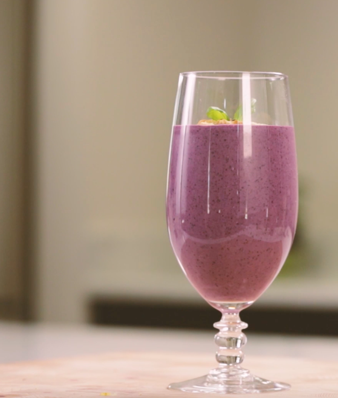 Wild Blueberry Basil Cheesecake Smoothie Picture