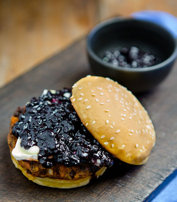 Black Bean Burger with Brie and Wild Blueberry Chutney Picture